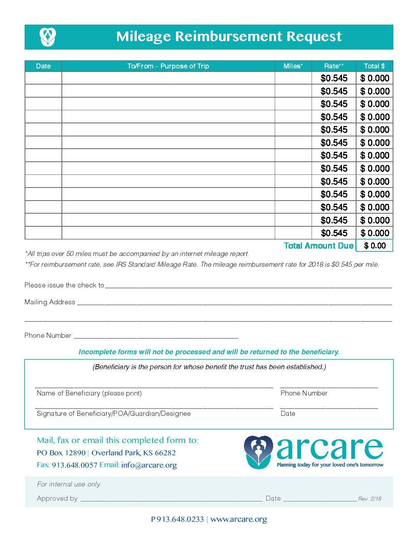 mileage reimbursement request